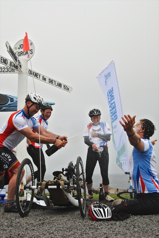 They did it! The Beeline Britain team celebrating at John O'Groats. Photo: Richard Strudwick