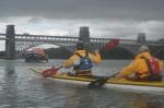 Paddling towards Britannia Bridge