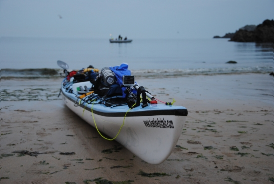 The kayak and kit ready and waiting at Anglesey for the next arduous paddle. Credit: Richard Strudwick