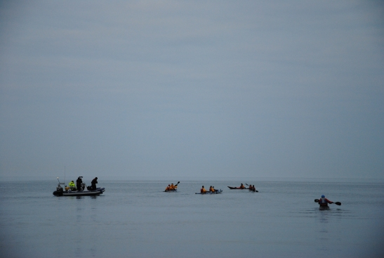 The team joined by their friends to begin their paddle to the Isle of Man at 5am. Credit: Richard Strudwick