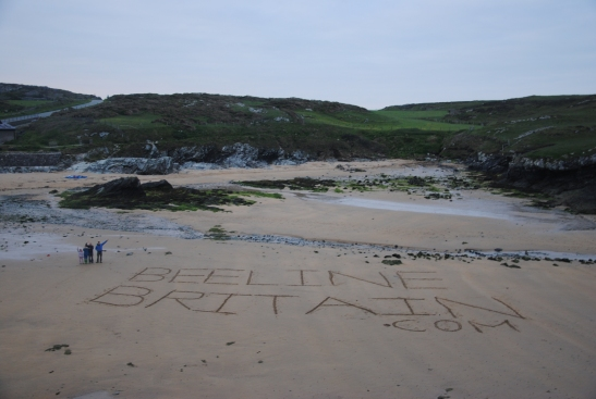 Beeline Britain make their mark on Anglesey beach. Credit: Richard Strudwick